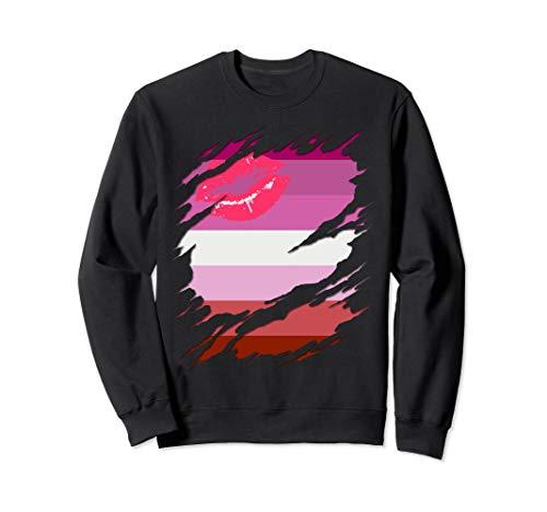 Lipstick Lesbian Pride Flag Ripped Sweatshirt
