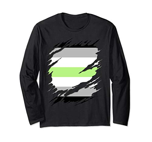 Agender Pride Flag Ripped Reveal Long Sleeve T-Shirt