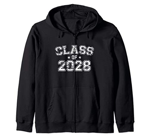 Distressed Class of 2028 Zip Hoodie
