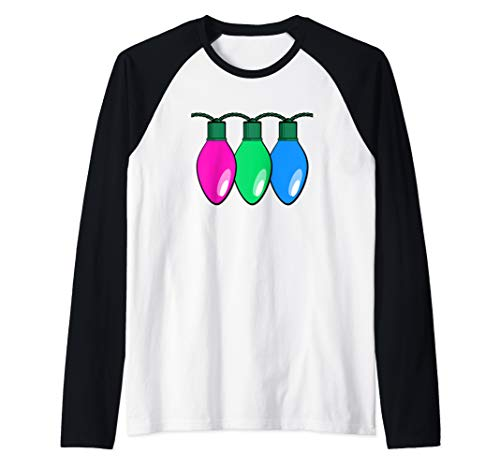 Polysexual Pride Flag Christmas Lights Raglan Baseball Tee