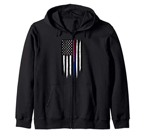 Bisexual Pride Thin Line American Flag Zip Hoodie