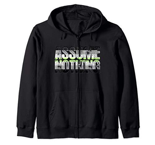 Assume Nothing Agender Pride Zip Hoodie