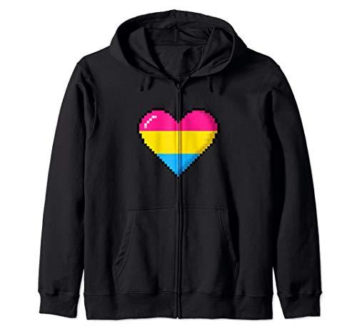 Pansexual Pride 8-Bit Pixel Heart Zip Hoodie