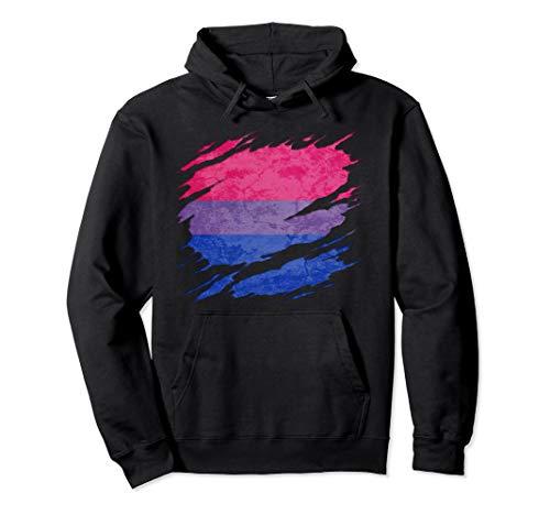 Bisexual Pride Flag Ripped Reveal Pullover Hoodie