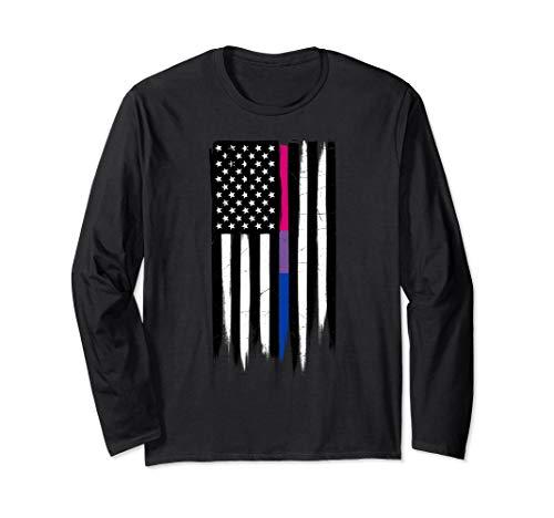 Bisexual Pride Thin Line American Flag Long Sleeve T-Shirt