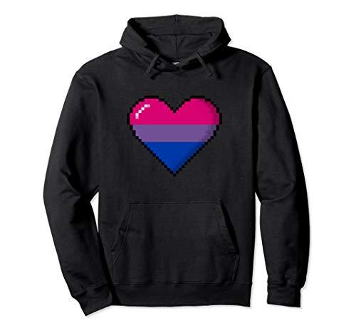 Bisexual Pride 8-Bit Pixel Heart Pullover Hoodie