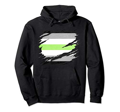 Agender Pride Flag Ripped Reveal Pullover Hoodie