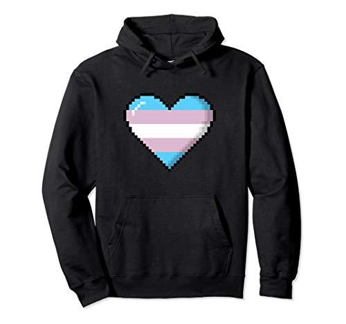 Transgender Pride 8-Bit Pixel Heart Pullover Hoodie