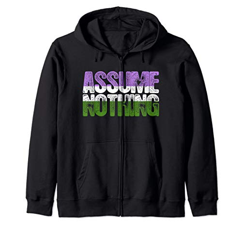 Assume Nothing Genderqueer Pride Zip Hoodie