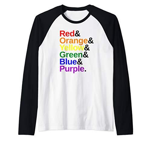 LGBTQ Pride Flag Color List Raglan Baseball Tee