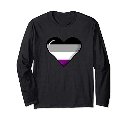 Asexual Pride 8-Bit Pixel Heart Long Sleeve T-Shirt