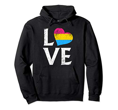 Pansexual Pride Flag Heart Stacked Love Pullover Hoodie