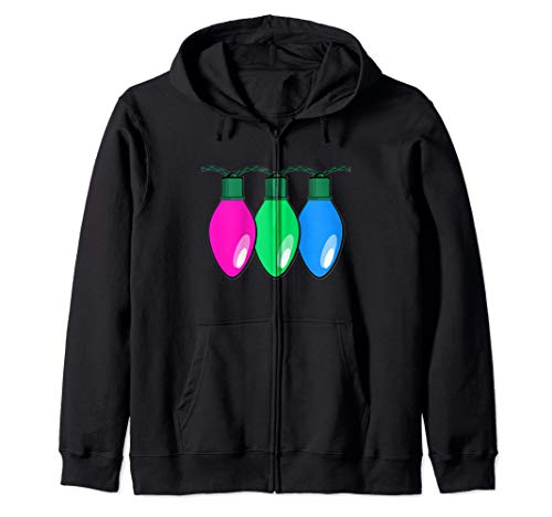 Polysexual Pride Flag Christmas Lights Zip Hoodie