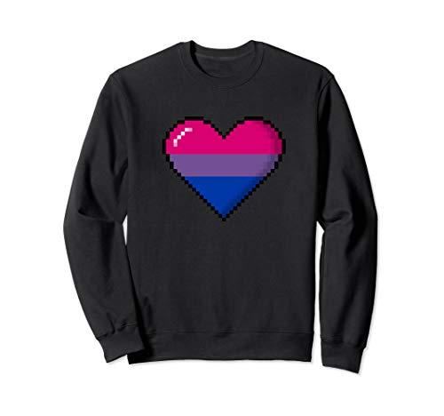 Bisexual Pride 8-Bit Pixel Heart Sweatshirt