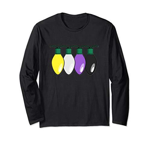 Nonbinary Pride Flag Christmas Lights Long Sleeve T-Shirt