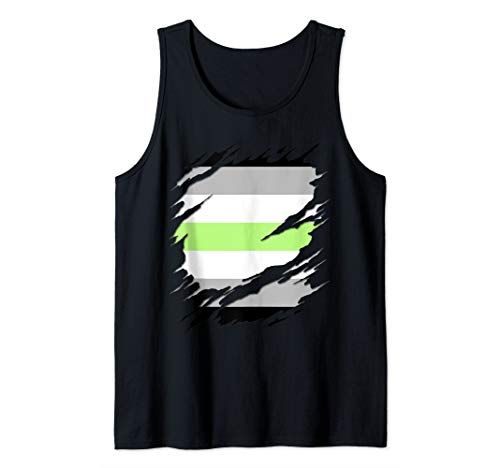 Agender Pride Flag Ripped Reveal Tank Top