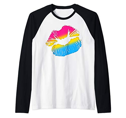 Pansexual Pride Big Kissing Lips Raglan Baseball Tee