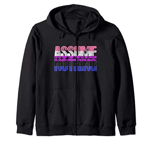 Assume Nothing Genderfluid Pride Zip Hoodie