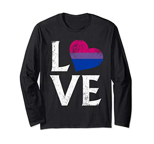 Bisexual Pride Flag Heart Stacked Love Long Sleeve T-Shirt