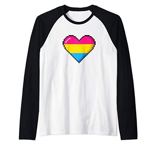 Pansexual Pride 8-Bit Pixel Heart Raglan Baseball Tee