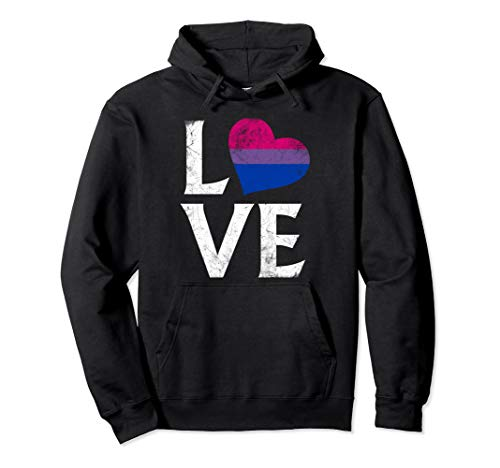 Bisexual Pride Flag Heart Stacked Love Pullover Hoodie
