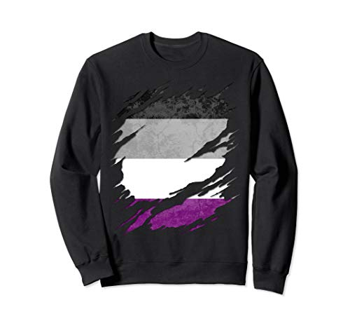 Asexual Ace Pride Flag Ripped Reveal Sweatshirt