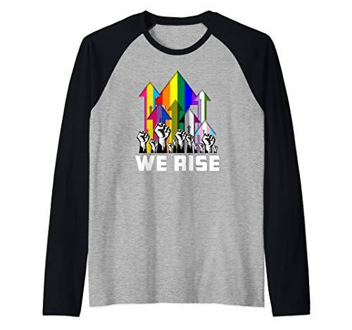 We Rise LGBTQIA Pride Flags Raglan Baseball Tee