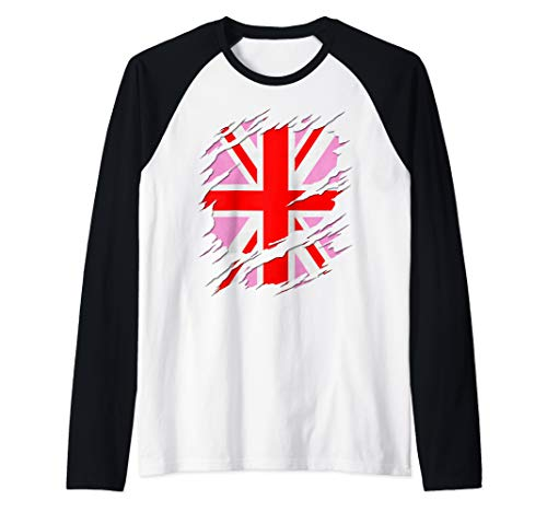 UK Pink Jack Ripped Reveal Raglan Baseball Tee