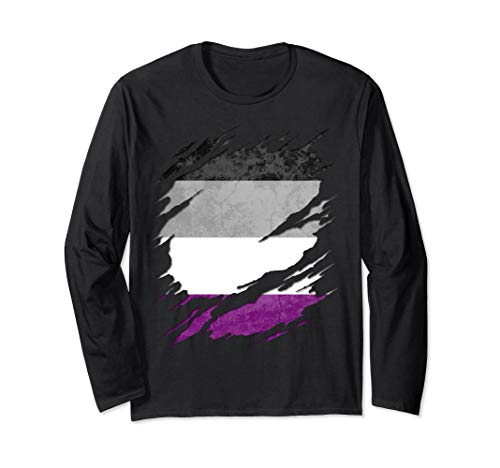 Asexual Ace Pride Flag Ripped Reveal Long Sleeve T-Shirt