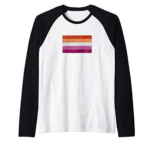 Distressed Lesbian Pride Flag Raglan Baseball Tee