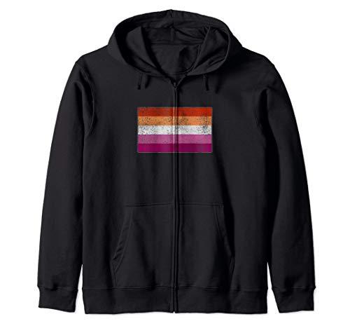 Distressed Lesbian Pride Flag Zip Hoodie