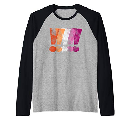 Distressed Lesbian Pride Graphic Exclamation Points Raglan Baseball Tee