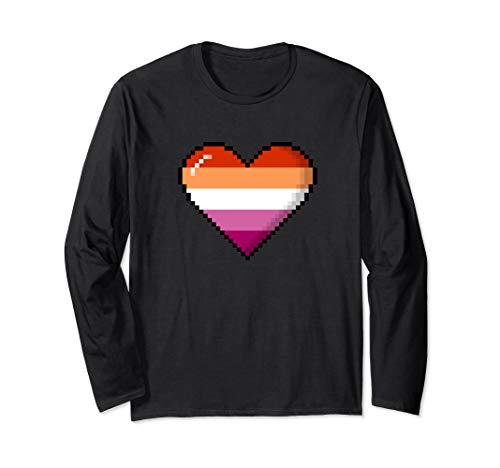 Lesbian Pride 8-Bit Pixel Heart Long Sleeve T-Shirt