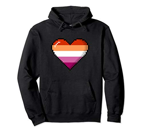 Lesbian Pride 8-Bit Pixel Heart Pullover Hoodie