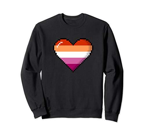 Lesbian Pride 8-Bit Pixel Heart Sweatshirt