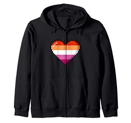 Lesbian Pride 8-Bit Pixel Heart Zip Hoodie