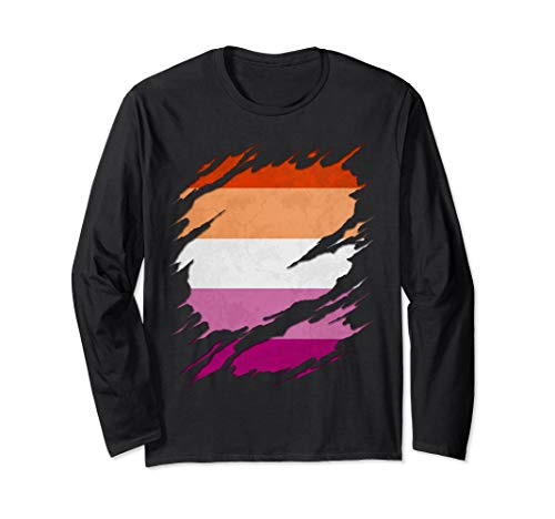 Lesbian Pride Flag Ripped Reveal Long Sleeve T-Shirt