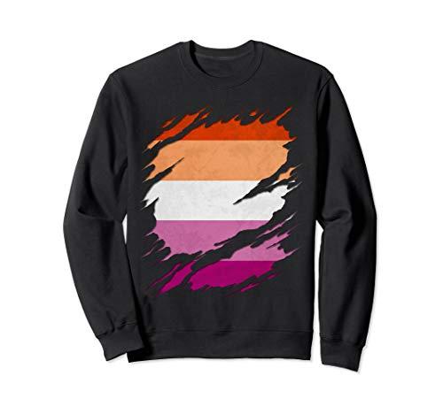 Lesbian Pride Flag Ripped Reveal Sweatshirt