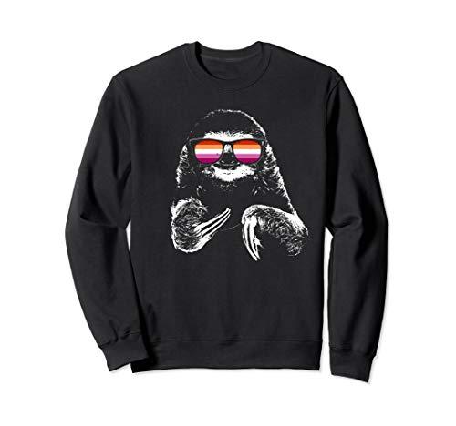 Pride Sloth Lesbian Flag Sunglasses Sweatshirt