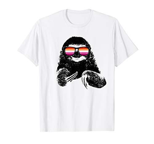 Pride Sloth Lesbian Flag Sunglasses T-Shirt