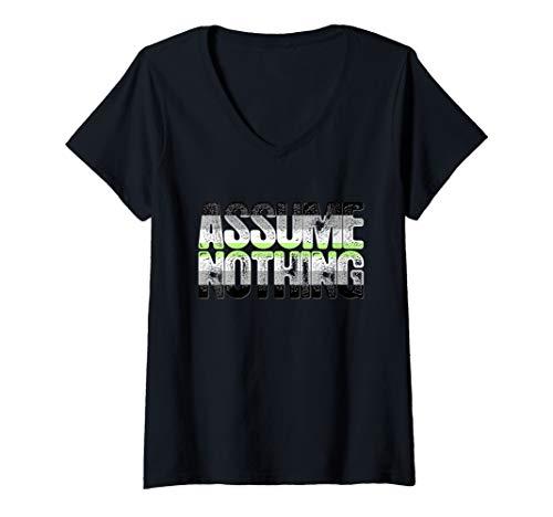 Womens Assume Nothing Agender Pride V-Neck T-Shirt