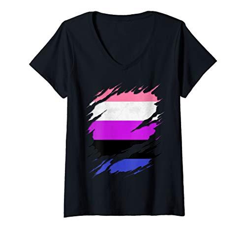 Womens Genderfluid Pride Ripped Reveal V-Neck T-Shirt