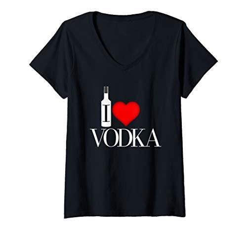 Womens I Heart Vodka V-Neck T-Shirt