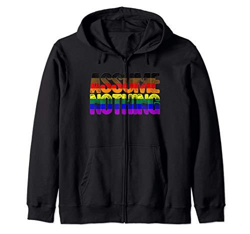 Assume Nothing Philly LGBTQ Gay Pride Flag Zip Hoodie