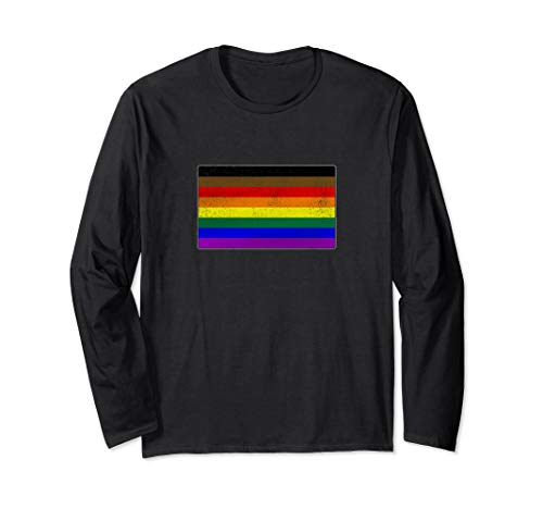 Distressed Philly LGBTQ Gay Pride Flag Long Sleeve T-Shirt
