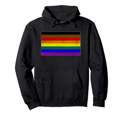 Distressed Philly LGBTQ Gay Pride Flag Pullover Hoodie