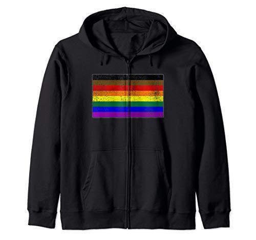 Distressed Philly LGBTQ Gay Pride Flag Zip Hoodie