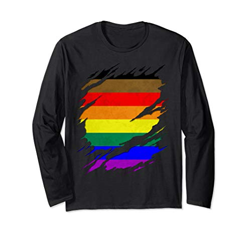Philly LGBTQ Gay Pride Flag Ripped Reveal Long Sleeve T-Shirt