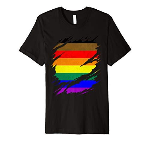 Philly LGBTQ Gay Pride Flag Ripped Reveal Premium T-Shirt