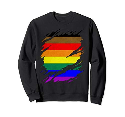 Philly LGBTQ Gay Pride Flag Ripped Reveal Sweatshirt